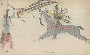 Ute people - Ledger drawing of a battle between a Ute warrior and mounted Cheyenne warrior. ca. 1880s