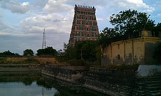 Uthirakosamangai - View of the temple tower and the temple tank