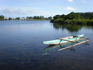 Va'a - Typical Vaʻa with outrigger for fishing, Savai'i Island, Samoa.