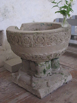Valjala Church - The baptismal font.