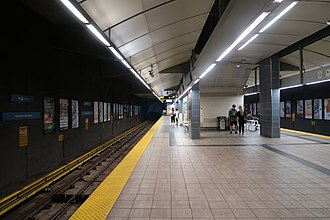 Vancouver City Centre station - Platform level; inbound on the left, outbound on the right