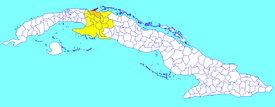 The former Varadero municipality (red) within Matanzas Province (yellow) and Cuba. The rest of Cárdenas municipality is shown in orange