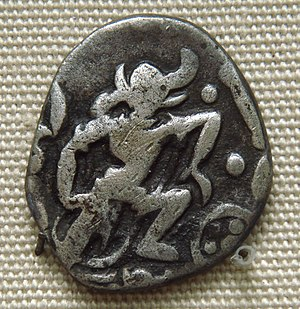 Gurjara-Pratihara - Varaha (the boar-headed Vishnu avatar), on a Pratihara coin. 850–900 CE. British Museum.