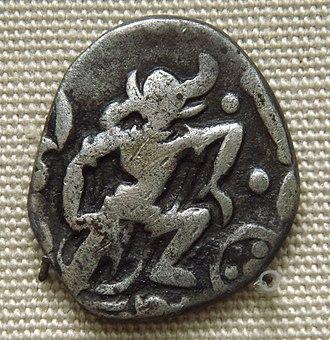 Gurjara-Pratihara dynasty - Varaha (the boar-headed Vishnu avatar), on a Gurjara-Pratihara coin. 850–900 CE. British Museum.