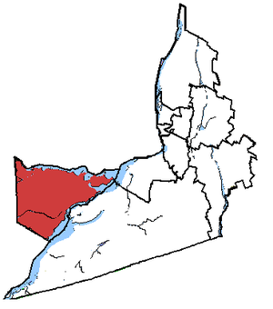 Vaudreuil—Soulanges - Vaudreuil-Soulanges in relation to other Montérégie federal electoral districts.