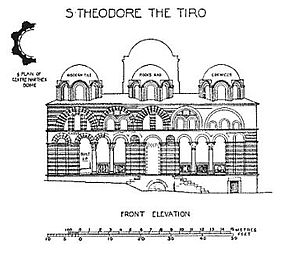 Church-Mosque of Vefa - The Exonarthex's façade in a drawing of Alexander Van Millingen (Byzantine Churches of Constantinople, 1912)