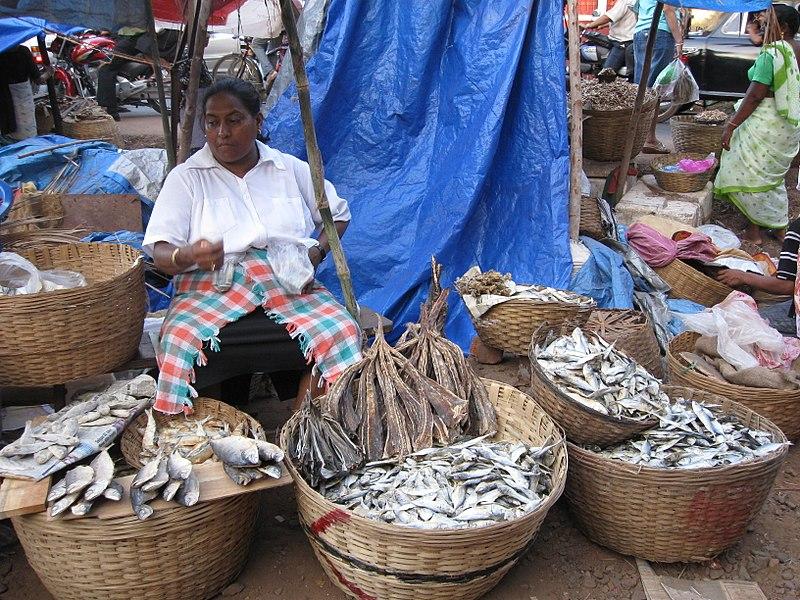 A fish vendor at Margao Market, Goa.