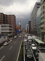 View of Shiokojidori Street from footbridge of Horikawa-Shiokoji Crossroads (East).jpg