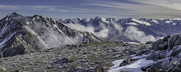View to Castle Hill Peak from Red Peak, Torlesse Range, New Zealand