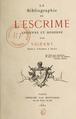 Vigeant Arsène - La bibliographie de l'escrime ancienne, couverture.png