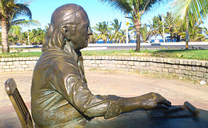 "Vinicius de Moraes - Sculpture of Vinicius, commemorating his work ""Uma tarde em Itapua""."