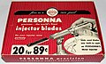 Vintage Box Of Personna Percision Injector Razor Blades, Display Box With 14 Packages, Each With A Metal Injector And 20 Blades, Made In USA, Circa 1952 (23694231654).jpg