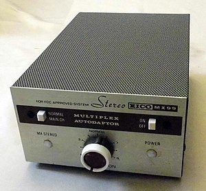 Eico - Image: Vintage Eico Stereo Multiplex Autodaptor, Model MX99, 6 Vacuum Tubes, Metal Cabinet, Bookshelf Unit, Inital Price = 39.00 USD, Circa 1961 (12623768935)