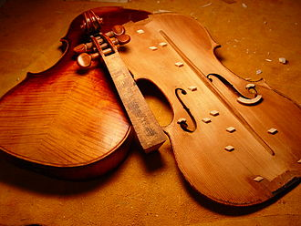 Conservation and restoration of musical instruments - A Violin in the process of being restored.