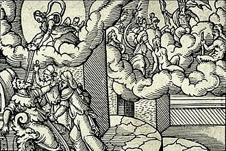 Assassination of Julius Caesar - Deification of Julius Caesar, a 16th-century engraving by Virgil Solis illustrating Ovid's passage on the apotheosis of Caesar (Metamorphoses 15.745–850)