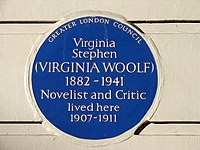 2a8fd20bf93d Greater London Council plaque at 29 Fitzroy Square, Fitzrovia, commemorating  Virginia Woolf (erected 1974)