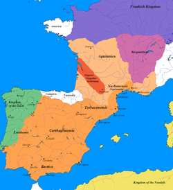 Greatest extent of the Visigothic Kingdom, c. 500 (shown in orange, territory lost after Vouille shown in light orange).