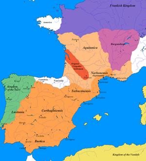 English: Map of the Visigothic kingdom. I crea...