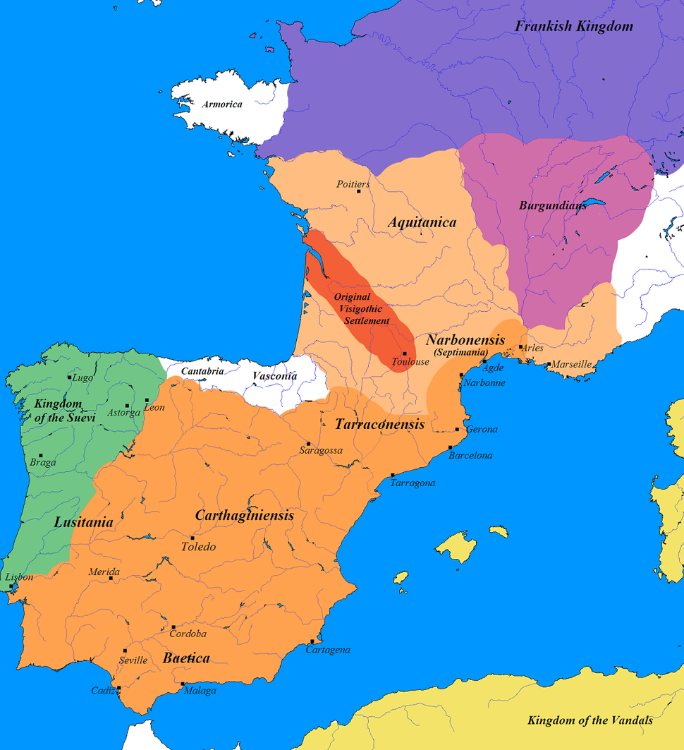 Greatest extent of the Visigothic Kingdom, c. 500 (Total extension shown in orange. Territory lost after Battle of Vouillé shown in light orange).