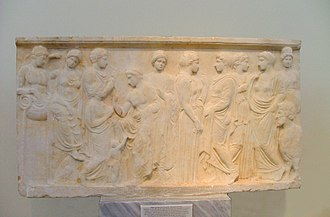 Cephissus (mythology) - In the central part of the relief there is a child before Cephissus.