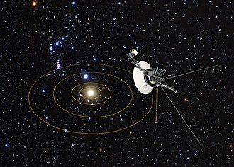 Space probe - Voyager 1s view of Solar System (artist's impression).