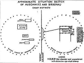 Vrba–Wetzler report - Sketch from the report: left, Auschwitz I showing the DAW, Siemens and Krupp factories; right, Auschwitz II showing four gas chambers and crematoria.