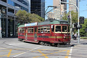 City Circle tram - W6 class tram turning from Nicholson Street into Victoria Parade in April 2013
