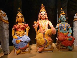 Aiyanar - Aiyan with his consorts Poorna and Pushkala