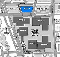 WTC Building Arrangement and Site Plan (building 7 highlighted).jpg