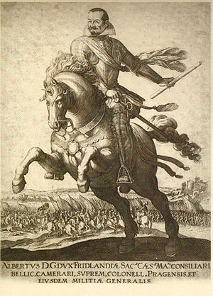 Battle of Wolgast - Albrecht von Wallenstein on horseback