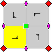 Arrangement within a primitive cell of 2- and 4-fold rotocenters. A fundamental domain is indicated in yellow.