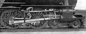 Connecting rod - Steam locomotive rods, the large angled rod being the connecting rod