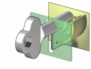 Warded lock - When the key is fully inserted, a cavity in the tip of the key fits over a cylindrical post inside the lock. This provides a pivot point about which the key can rotate.
