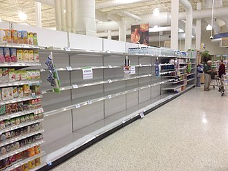 Hurricane preparedness - All but the most expensive bottles of water were sold out at this Publix supermarket before Hurricane Irma; in the week preceding the storm, water sold out soon after shipments arrived