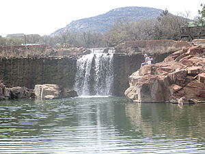 Medicine Park, Oklahoma - Image: Waterfalls with Mount Scott in the background IMG 6985