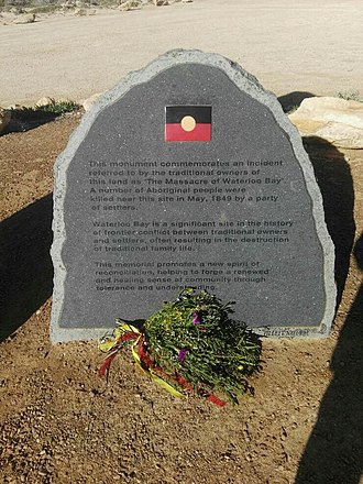 Waterloo Bay massacre - The memorial plaque at Elliston commemorating the massacre
