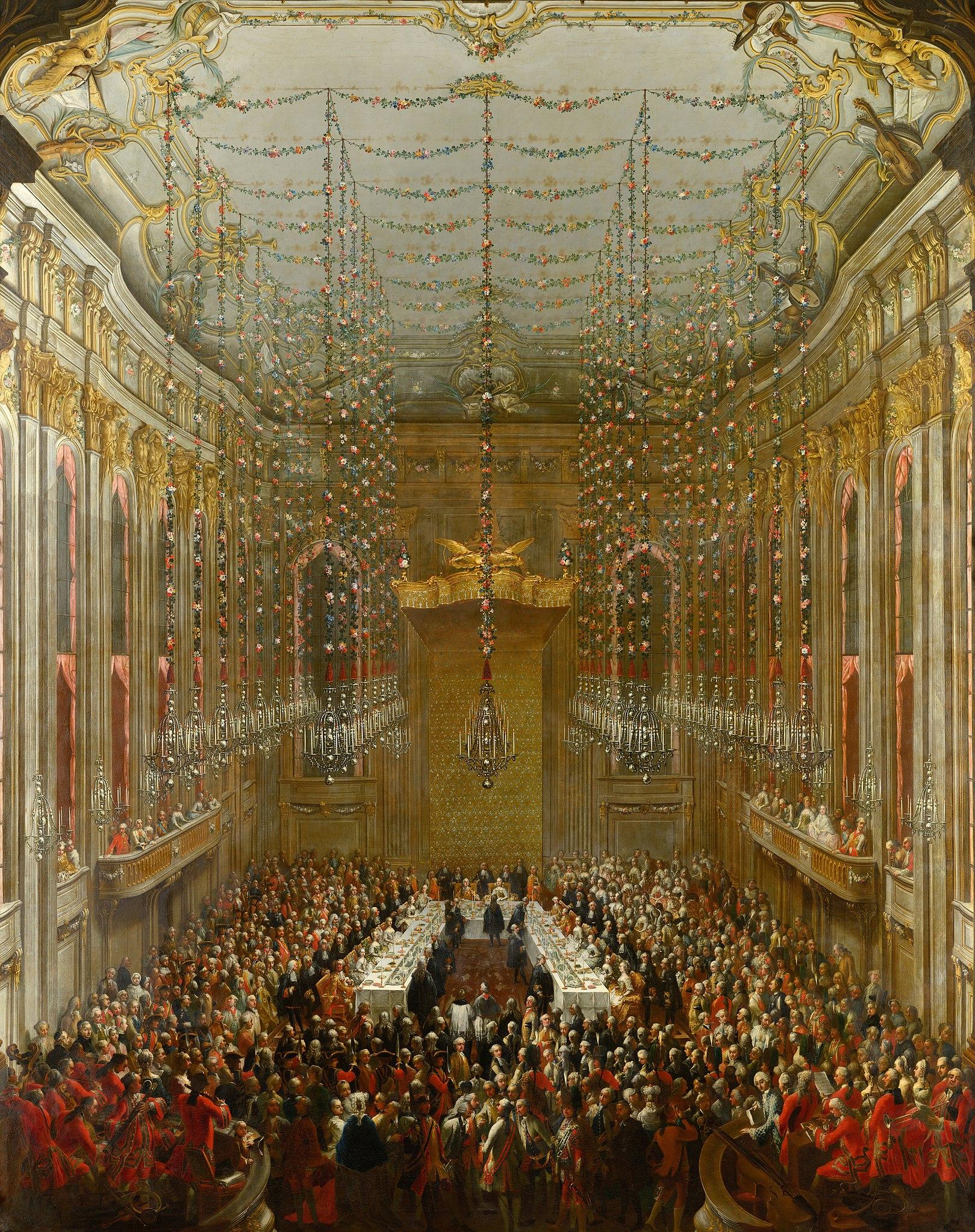 wedding in art: Martin van Meytens the Younger, Wedding Supper, ca. 1763, Schönbrunn Palace, Vienna, Austria.