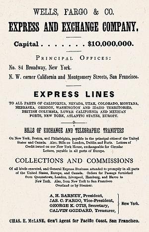 History of Wells Fargo - Wells Fargo 1870 ad