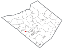 Location of Wernersville in Berks County, Pennsylvania.