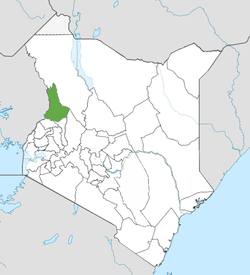 Location of West Pokot County (Green)