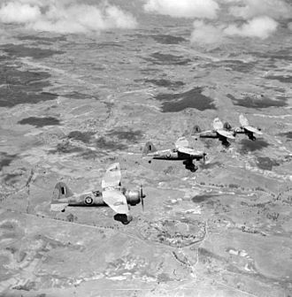 Battle of Madagascar - December 1942. Four RAF Westland Lysander aircraft flying over Madagascar following the end of the campaign.