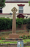 A sandstone cross with a Celtic-type head