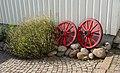 Wheels as garden art at Gamla Strandgatan 10, Gamlestan, Lysekil 2.jpg
