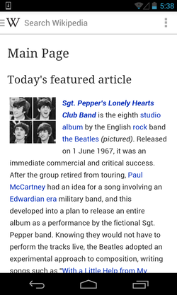 Wikipedia Android app on Main Page.png