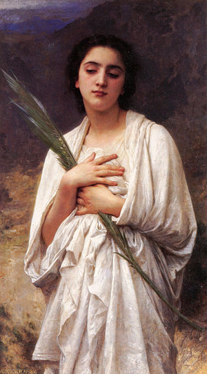 Palm branch - The Palm Leaf  by William-Adolphe Bouguereau (1825–1905), portrait of an unidentified woman in ancient dress