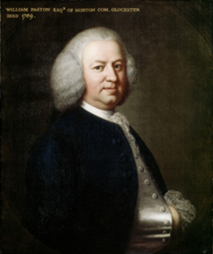 Horton Court - William Paston Esq. Of Horton com. Gloucester. Died 1769. Painted by Thomas Hudson (1701-1779). At Coughton Court, Warwickshire, property of the National Trust, NTPL ref no: 58001