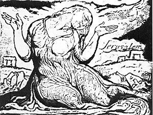 Jerusalem The Emanation of the Giant Albion - William Blake: Druid Rocks with pitying figure of Jerusalem. Copy A, Plate 92, detail, (British Museum).