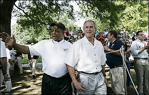 Willie Mays - Mays walks with President Bush, July 30, 2006