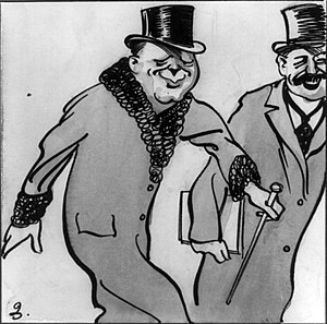 "H. M. Bateman - ""Winston Churchill smiles at the camera"". Cartoon by H. M. Bateman (ca. 1912)."