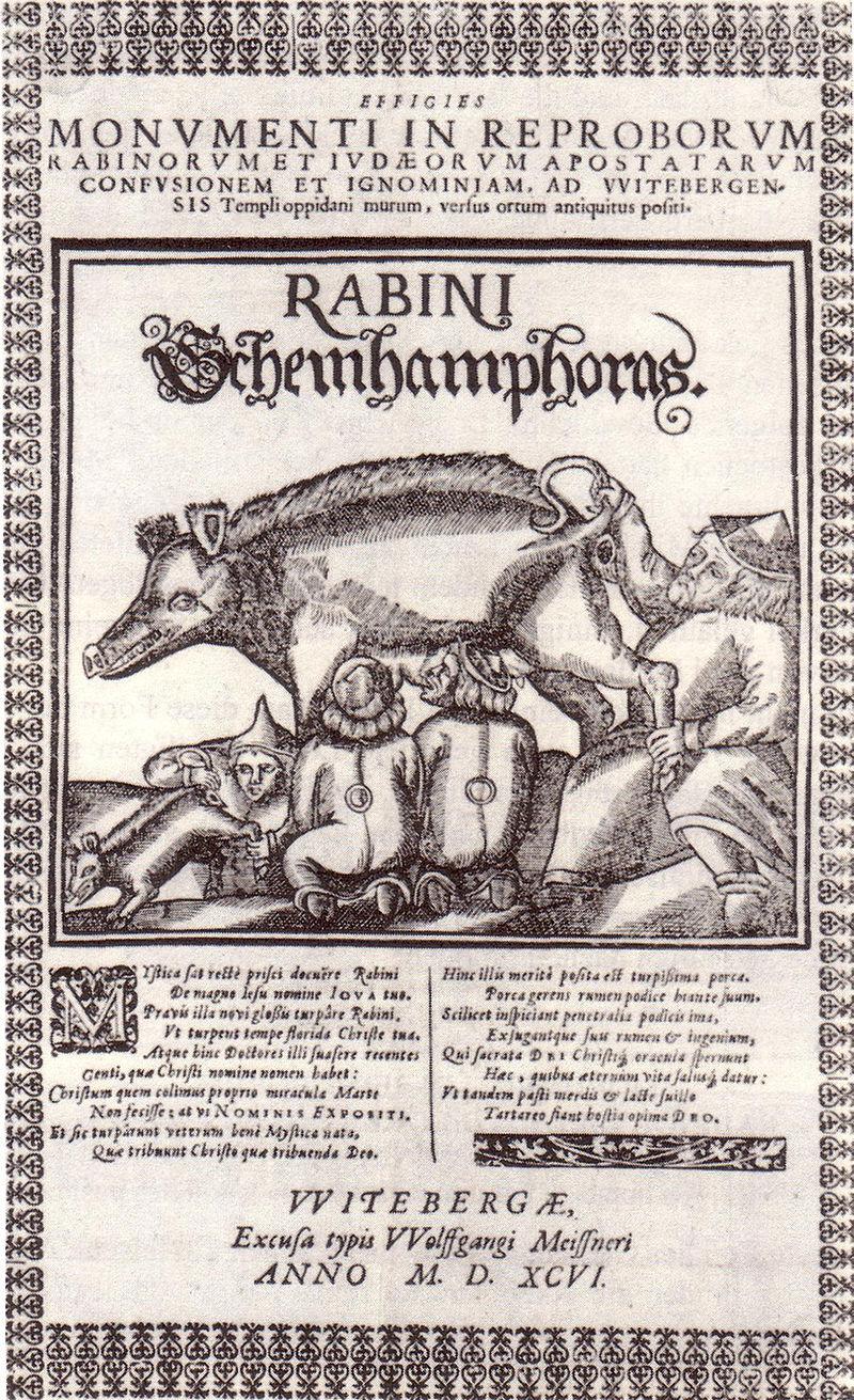 Einblattdruck mit Wittenberger Judensau, 1596. Bild: wikimedia.org/PD